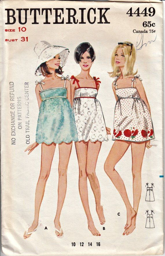 819e0d33bea1 1960's Short Beach Dress Pattern BUTTERICK 4449 Swimsuit Cover Up Retro Sewing  Pattern 1960's Beach Wear Out of Print Pattern Bust 31