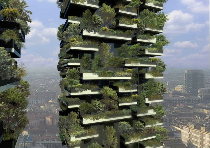 stefano boeri's vertical forest in the centre of Milan - 2 apartment buildings. <3Bosco Verticale (Vertical Forest) is a project for metropolitan reforestation that contributes to the regeneration of the environment and urban biodiversity without the implication of expanding the city upon the territory. Bosco Verticale is a model of vertical densification of nature within the city.