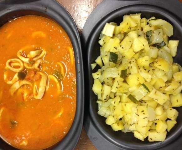 Recette Lamelle d'encornets à la tomate et ses petits légumes par LADIP - recette de la catégorie Poissons