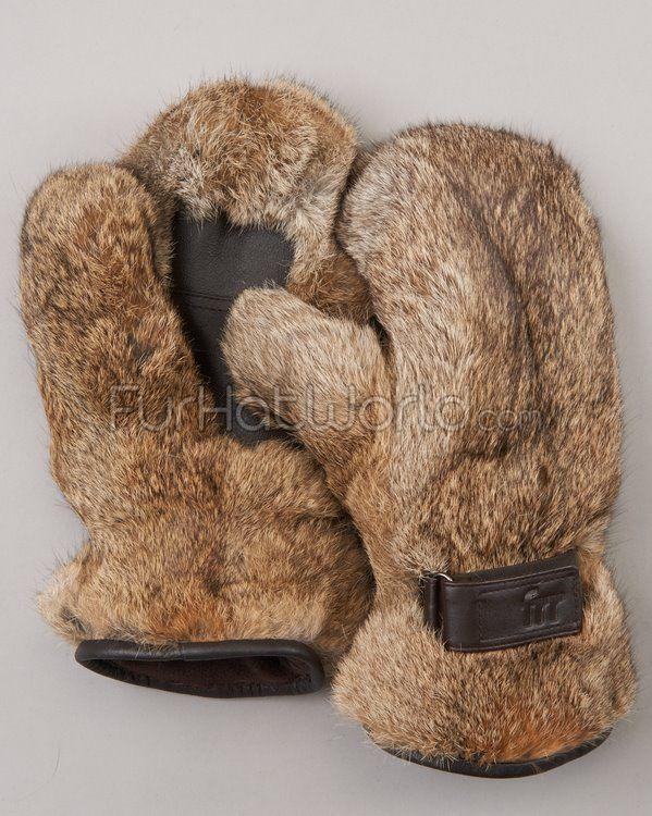 Rabbit Fur Mittens - Brown