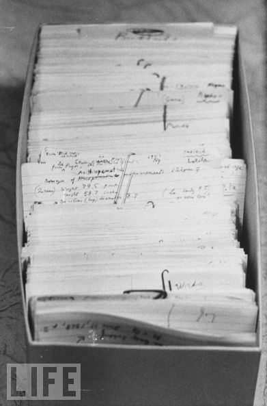 """Nabokov wrote most his novels on 3"" x 5"" notecards, keeping blank cards under his pillow for whenever inspiration struck. Seen here: a draft of Lolita."""