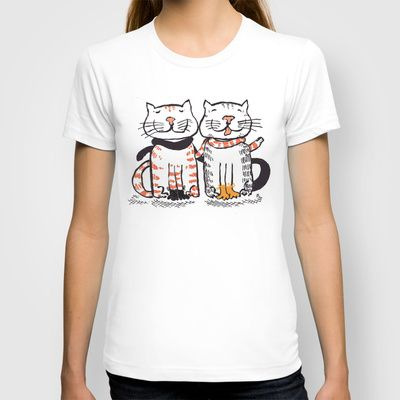 kittens in mittens  by ALDO AAB T-shirt / Womens Fitted Tee White $22.00