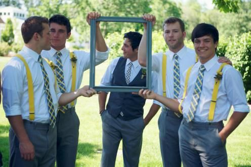 Groom & Groomsmen: I like this look for the reception (after all the formalities). Groom in vest and his guys in suspenders. Sexy.