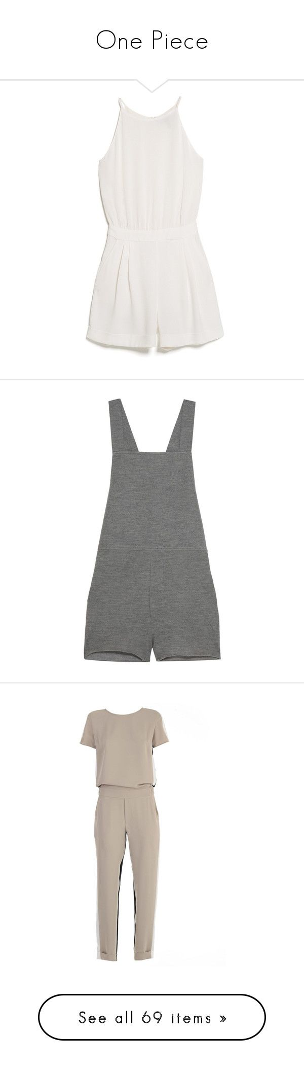 """""""One Piece"""" by isthelastofus ❤ liked on Polyvore featuring jumpsuits, rompers, dresses, playsuits, jumpsuit, halter top, playsuit jumpsuit, mango jumpsuit, sleeveless rompers and sleeveless romper"""