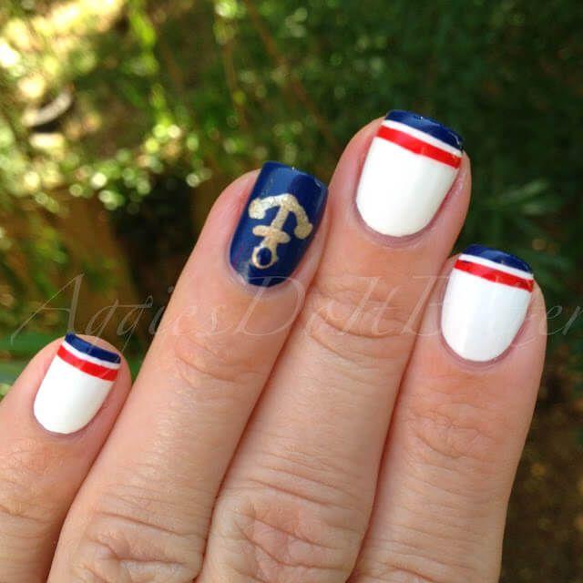 Uñas Nauticas, mas de 40 ejemplos – Nautical Nails   Decoración de Uñas - Nail Art - Uñas decoradas - Part 4