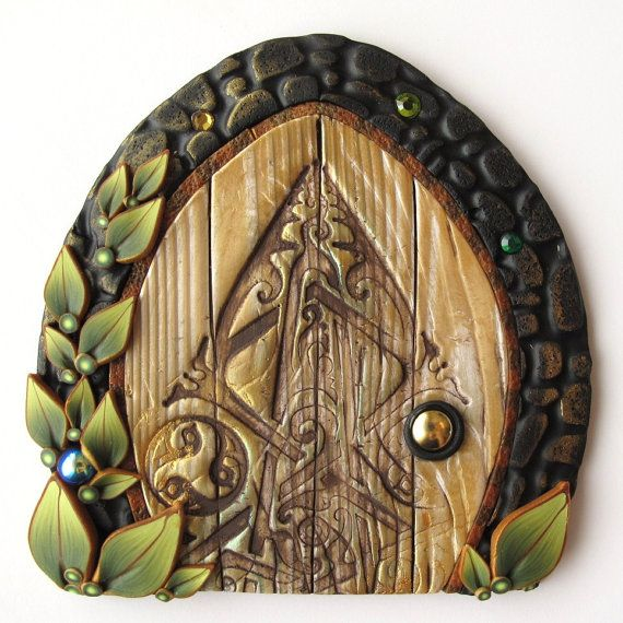 Celtic Fairy Door Pixie Portal by Claybykim on Etsy, $20.00