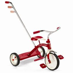 retro rode driewieler met afneembare duwstang, de nuuje fiets van benz