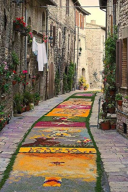 see the streets decorated with foloral tapestries during Easter in Perugia, Italy.