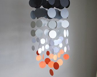 Gray/White/Orange Chandelier Mobile// Nursery Mobile - Choose Your Colors
