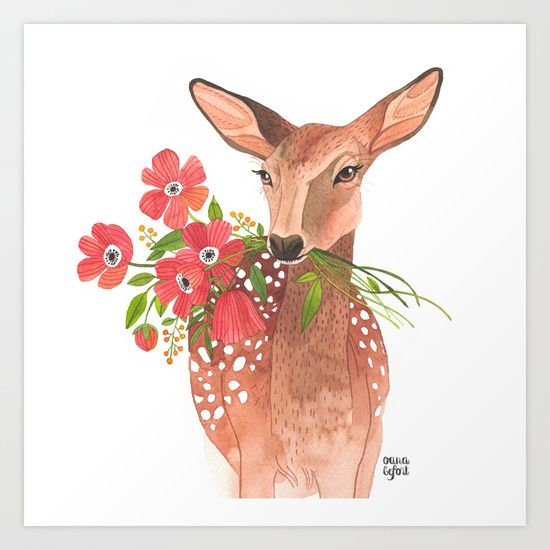 Buy Lovely Deer Art Print by Oana Befort. Worldwide shipping available at Society6.com. Just one of millions of high quality products available.