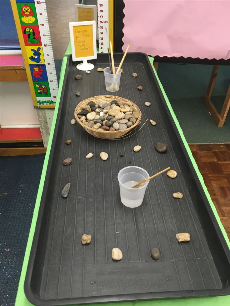 Painting stones with water - investigation station