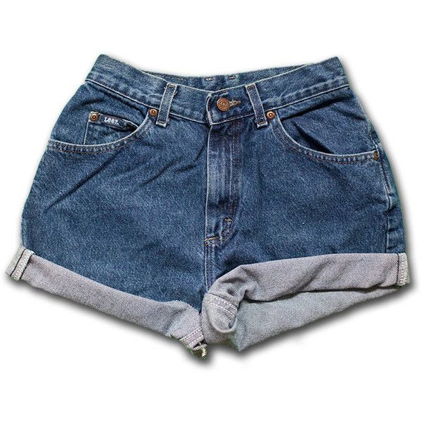 Vintage 70s 80s Lee medium/dark Blue Wash High Waisted Rise Cut Offs... ($28) ❤ liked on Polyvore featuring shorts, black, women's clothing, denim shorts, cut off denim shorts, 80s fashion, black denim shorts and black jean shorts