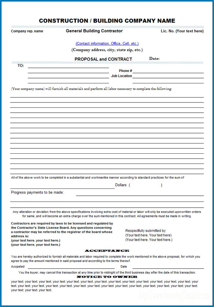 Free Printable Construction Proposal Template In 2020 Construction Contract Construction Bids Proposal Templates