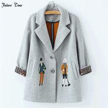 2017 осень женщины пальто, Европейская мода Женский шерстяной куртки Вышивка пиджаки зима серые пальто кашемировые пальто femme C0361(China (Mainland))
