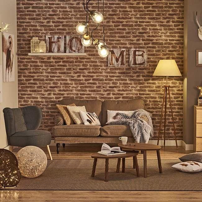 """Napis """"home"""" na ścianie w ceglanym salonie. #design #urządzanie #urząrzaniewnętrz #urządzaniewnętrza #inspiracja #inspiracje #dekoracja #dekoracje #dom #mieszkanie #pokój #aranżacje #aranżacja #aranżacjewnętrz #aranżacjawnętrz #aranżowanie #aranżowaniewnętrz #ozdoby #motto #cytat #cytaty #salon #salony #home #napis"""