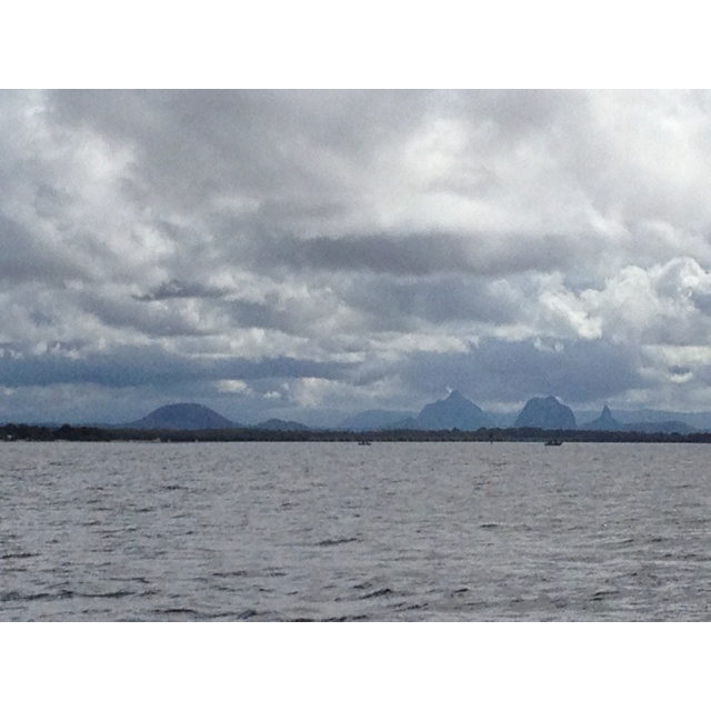Glass house mountains from bribie calm side