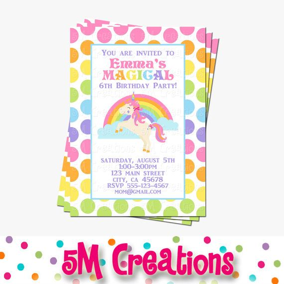 Rainbow Unicorn Party Invitation Unicorn Printable by 5Mcreations
