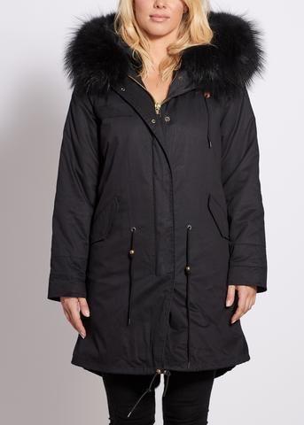 f1405bf1036b Popski London Black 3/4 Length Parka with Matching Raccoon Fur Collar