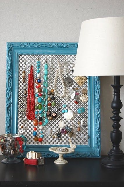 Jewelry holder frame project.  Set on dresser instead of hanging on wall