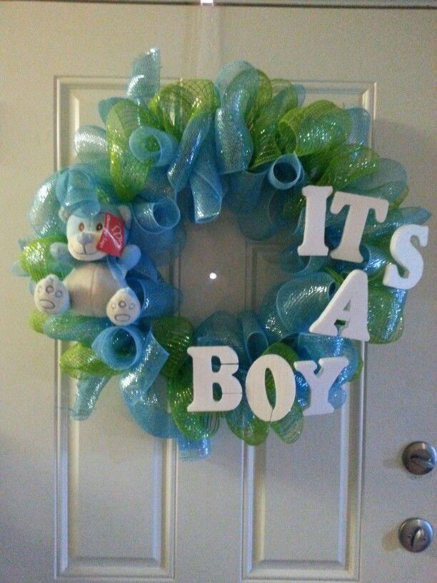 Baby boy wreath for hospital door, baby boy wreath, it's a boy oh boy!