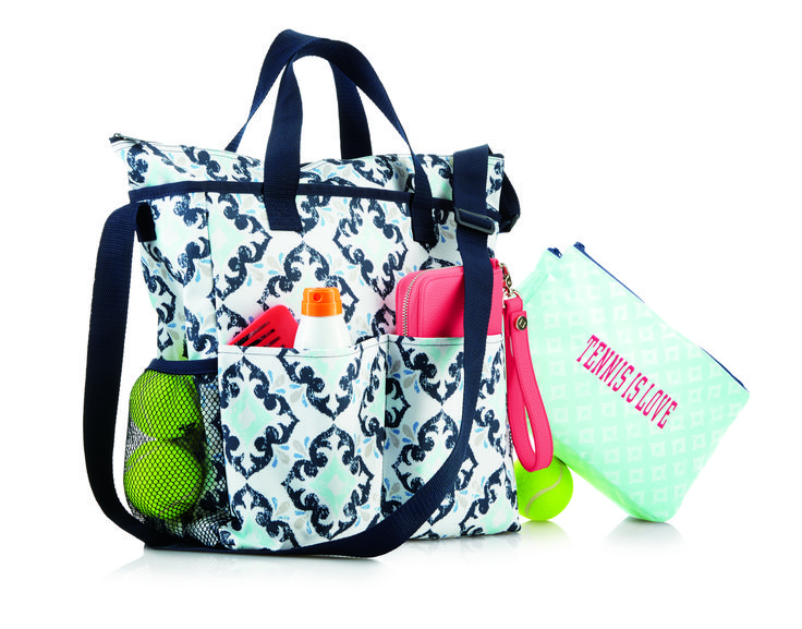 Thirty-one SPRING 2018 / NEW ITEM: Crossbody Organizing Tote Shown in Fab Flourish (L) and Swap-It Pocket Shown in the Sparkling Squares (R) https://www.mythirtyone.com/1872596/info/home