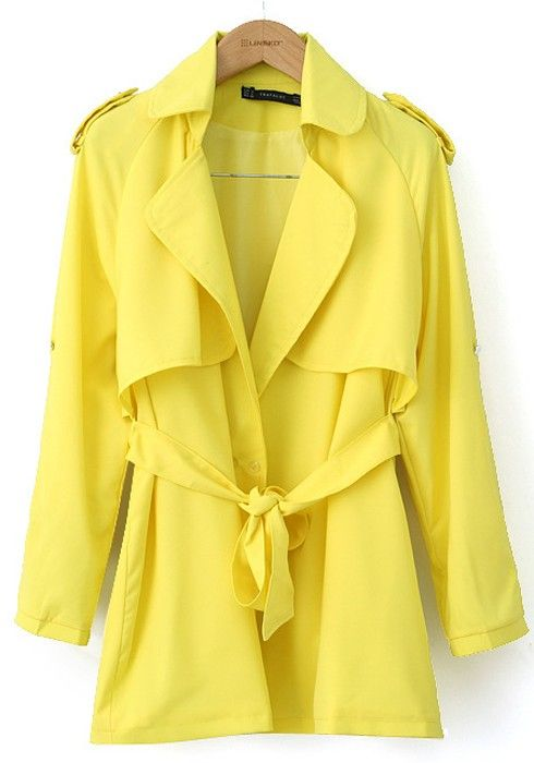 Thinking Spring! Love this color! Yellow Belt Peak Lapel Cotton Blend Trench Coat #yellow #trench_coat #fashion