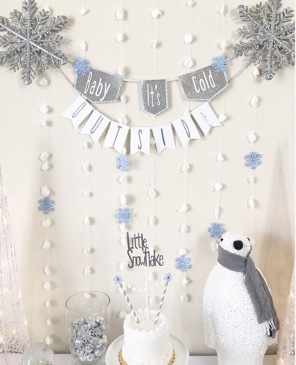 Baby it's cold outside, baby it's cold outside banner, snowflake cake topper, winter baby shower, winter Onderland, boy winter shower
