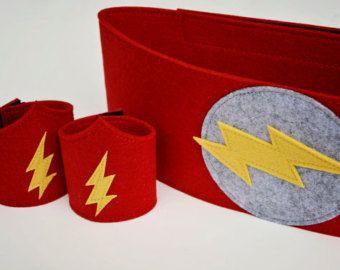 Deluxe Flash Felt Wrist Cuffs and Belt - Superhero Cuffs Superhero Belt for children and many adults