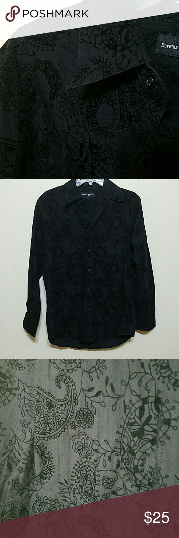 SALE Black on black paisley print Classy shirt with black paisley design on black.  Slightly textured.  55% cotton, 45% polyester.   In excellent condition. Beverly Hills Polo Club  Shirts Dress Shirts