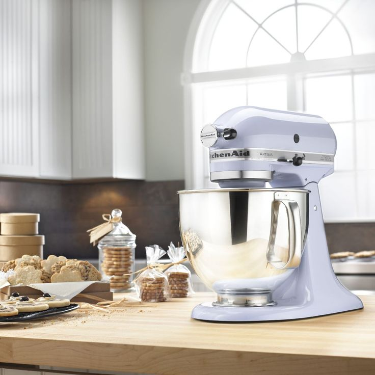 SHOP KITCHEN AID | This KitchenAid Artisan Mixer is in the ever popular color, Lavender Cream, that will look great on any counter top.  The KitchenAid Artisan Mixer has a 325W motor, 5qt bowl, two-piece pouring shield and a tilt-back mixer (KSM150PSLR) $279.99