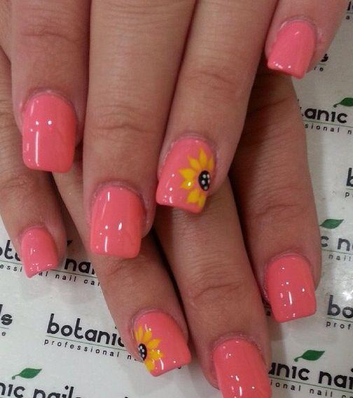 #nails #art #nailart #sunflower #summer #cute