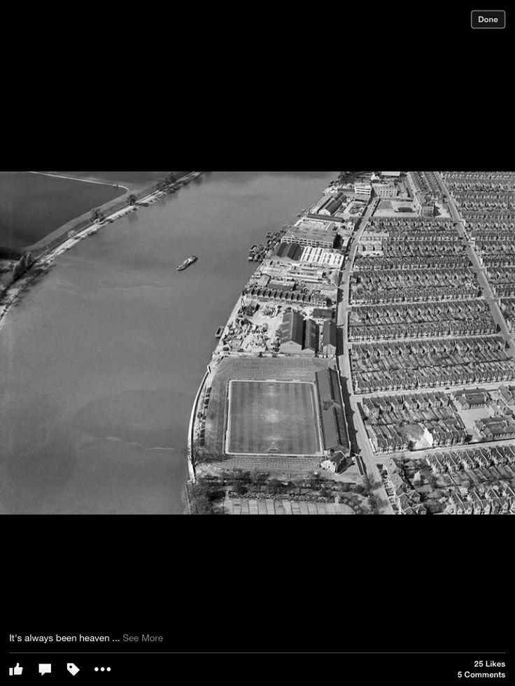An early picture of The Fulham ground with just the old Stevenage Road stand, and before floodlights.
