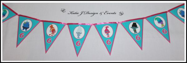 Pennant Banner Trolls Personalised Party Decorations #Trolls #Troll #Boys #Girls #Unisex #Personalised #Party #Decorations #Birthday #Bunting #Ideas #Banners #Cupcakes #WallDisplay #PopTop #JuiceLabels #PartyBags #Invites #KatieJDesignAndEvents #Creative
