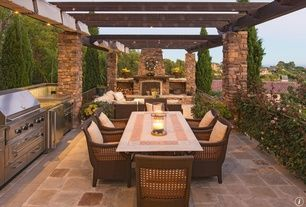 Craftsman Patio with outdoor pizza oven, MS International Tuscany Chateaux Travertine Tile, exterior stone floors, Trellis