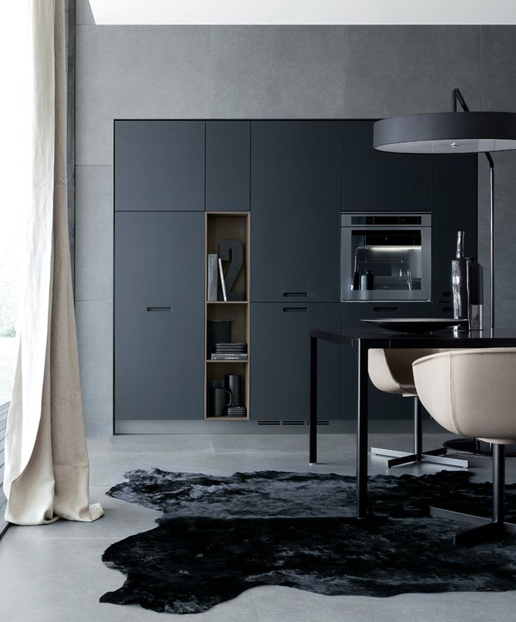 Modern Grey Kitchen Integrates Beautifully And Seamlessly Into The Wall Floor
