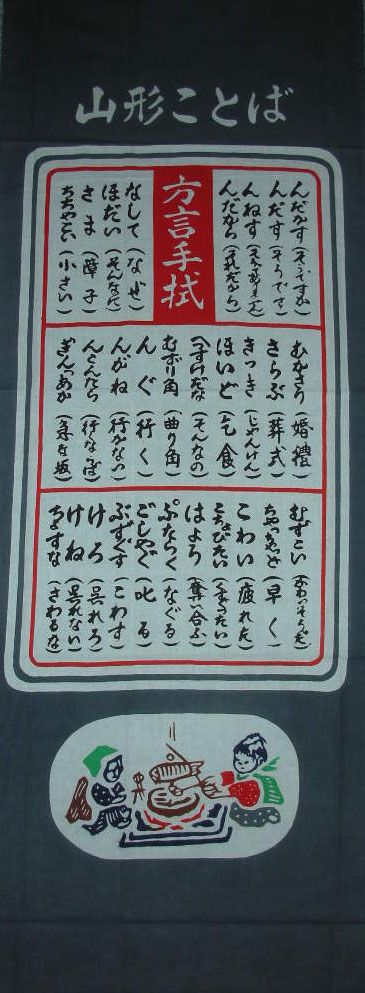 Japanese washcloth, Tenugui 山形県の方言手ぬぐい