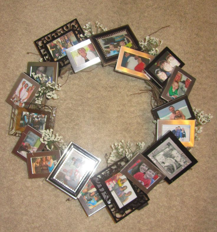 picture frame wreath based on this pin: http://pinterest.com/pin/74942781272360941/