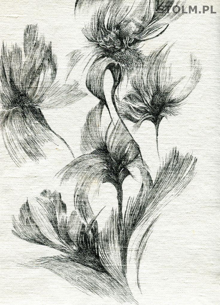 MossFlowers ink on paper black and white artist Stanisława Olszańska Marszałek abstraction art