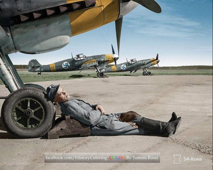 Finnish Airforce LeLv 34, Messerschmitt Bf-109 G-2 MT-203, MT-214 and MT-216, 24 April 1943 at Utti, Finland.
