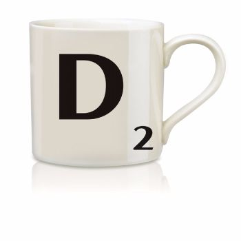 Scrabble Mug D: Scrabble mugs – collect the set for when you have 25 friends round for tea.