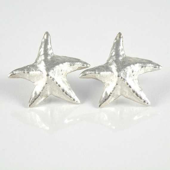 Silver Star Post Earrings Starfish Earrings  Sea by EfratJewelry