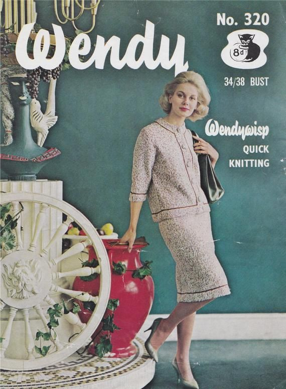 Vintage Knitting Pattern For Lady/'s Dress And Coat To Fit 34-38 Inch Bust
