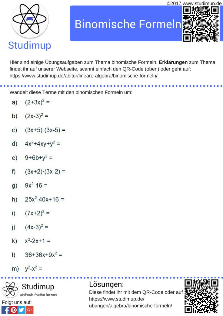 Übungsaufgaben zu den binomischen Formeln mit Lösungen. Aufgaben zum üben von Mathe findet ihr kostenlos bei Studimup!