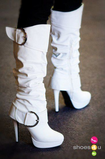 Charming White Leather High Heels