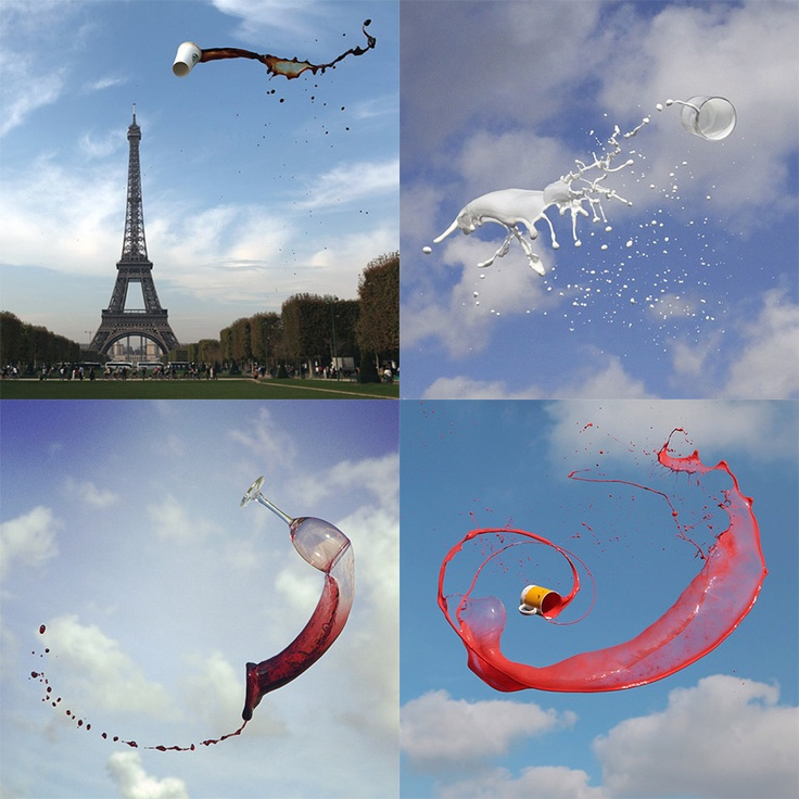Manon Wethly's Instagram Photos of Airborne Beverages. See many more at the link:  http://www.thisiscolossal.com/2013/05/manon-wethlys-instagram-photos-of-airborne-beverages/