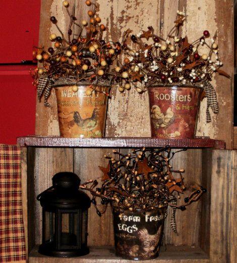 Farm Fresh Pails Full of Berries & Stars-Country Kitchen Decor,Country Kitchen Decorations,Primitive Kitchen Decor,Primitive Kitchen Decorat...