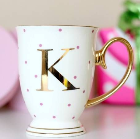 are you interested in our personalised spotty letter mugs with our initial spot china mug