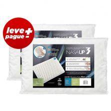 Kit Promocional 2 Travesseiros NasaUp 2 em 1: Tecnologia Viscoelástico e com toque massageador Branco - Fibrasca - Cód. C302294