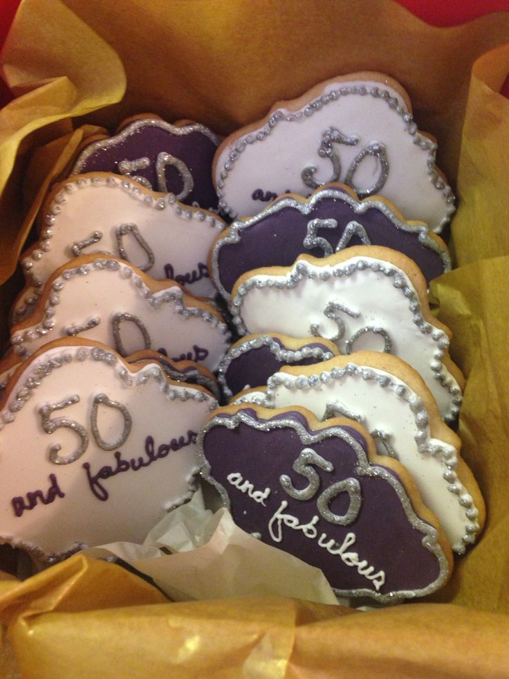 50 and fabulous!! Iced 50th birthday sugar cookies.