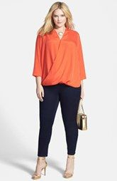 MICHAEL Michael Kors Surplice Crepe Blouse & Embellished Pocket Stretch Skinny Jeans (Plus Size) Nordstrom